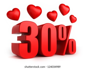 3d render of 30 percent with hearts