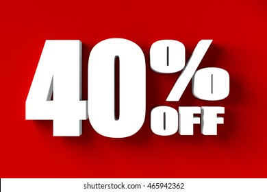 3d render of 40 percent off in red background
