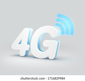 3D Render of 4G network with wifi icon isolated on white background, 3D illustration.