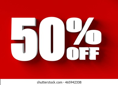 3d render of 50 percent off in red background