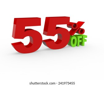 3d render 55 percent off on a white background