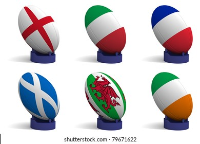 3D Render of the 6 participating nations in the Six Nations rugby tournament.