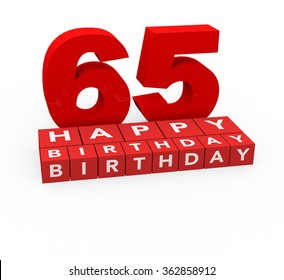 3d render 65 years birthday on a white background.