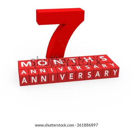 3 d render 7 months anniversary on stock illustration 361886897
