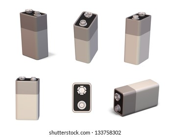 3d render of a 9 volt PP3 battery in different orientations