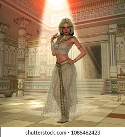 3d render of aa beautiful Egyptian Princess, Queen, Pharaoh, Cleopatra, in a richly decorated temple