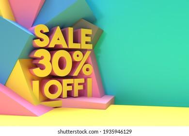 3D Render Abstract 30% Sale OFF Discount Banner 3D Illustration Design.