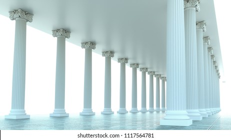 3d render of abstract ancient columns columns in bright light