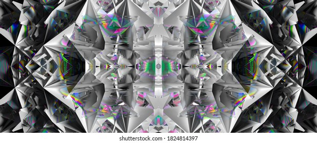 3d render of abstract art 3d background with part of surreal alien fractal cyber flower based on triangle symmetry pattern on surface in white plastic and multi color bismuth crystal material