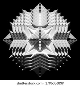 3d render of abstract art black and white monochrome surreal alien fractal cyber flower based on triangle symmetry pattern on surface in white plastic on isolated black background