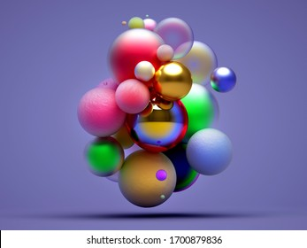 3d render of abstract art 3d composition with surreal small and big balls in matte and glossy metal and concrete rough materials painted in red blue purple and yellow gradient color on violet back