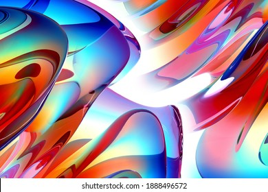 3d render of abstract art fashion 3d background with part of surreal organic curve round wavy elegance meta substance of spherical alien flower sculpture in liquid glass in rainbow gradient color