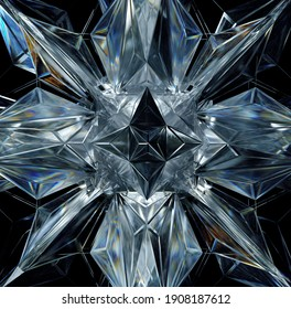 3d render of abstract art with part of surreal 3d cyber star or alien snow flake crystal diamond object based on triangles and pyramids fractal structure in ice glass material with dispersion effect