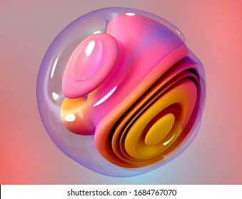 3d render of abstract art piece of surreal 3d ball in organic curve round wavy smooth and soft biological forms in transparent plastic material and other part matte pink and orange gradient color