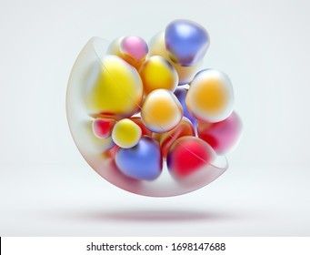 3d render of abstract art of surreal 3d composition with  part of ball in matte glass material with small deformed color balls inside in yellow pink blue matte metallic color on white background