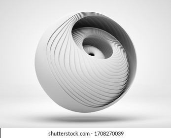 3d render of abstract art of surreal 3d mechanical ball in swirl twisted round shape in light grey matte plastic material on white background