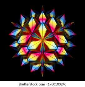 3d render of abstract art of surreal fractal symmetry alien flower lotus based on triangle geometry figure in matte metal material in yellow red and blue gradient color on black background