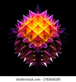 3d render of abstract art with surreal alien flower in fractal cubical shape pattern with sharp spikes in matte metal in purple and yellow glowing color light inside on black background