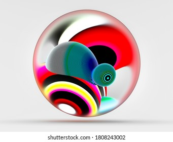 3d render of abstract art surreal glass ball with two organic curve round wavy meta substance inside in blue red yellow and green gradient fluorescent color with lines pattern on surface on light grey