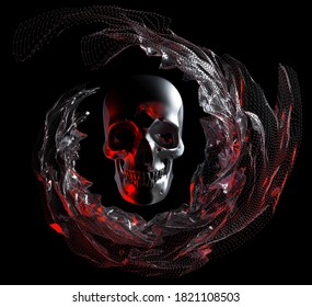 3d render abstract art of surreal halloween composition with metal aluminium skull with drapery around in curve wavy lines based on wire atomic structure with plastic parts with red and white light