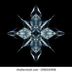 3d render of abstract art with surreal 3d cyber star or alien snow flake crystal diamond object based on triangles and pyramids fractal structure in ice glass material with dispersion effect