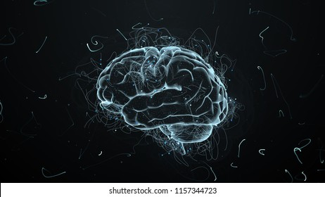 3d render abstract background with brain that surrounded with particles with twisted trails. Trails and particles are symoizing ideas.