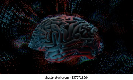 3d render abstract background with brain surrounded with polygonal structures. Complex mind concept. Technology and brain.