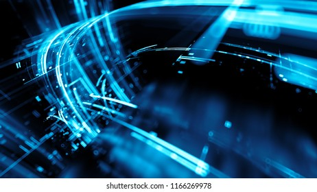 3d render abstract background with bright digital patterns. Complex detailed technology concept.