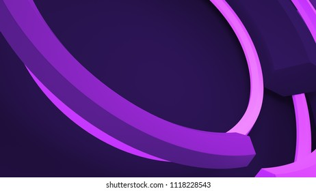 3d render abstract background. Circular composition. Diagonal angle of view of camera to rotation of arc with hexagon cross-section.