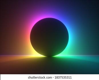 3D-Rendering, abstrakter Hintergrund mit buntem Neonlicht hinter dem schwarzen Ball. Eclipse-Konzept.