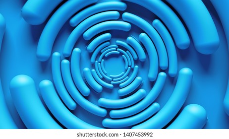 3d render abstract background with concentric arcs. Smooth round rotated elements.