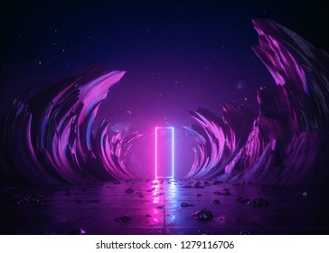 3d render, abstract background, cosmic landscape, rectangular portal, pink blue neon light, virtual reality, energy source, glowing quad, dark space, ultraviolet spectrum, laser, smoke, fog, ground