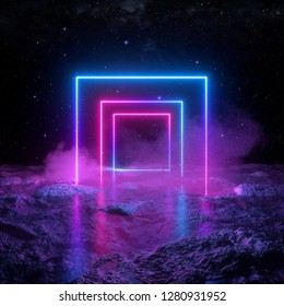 3d render, abstract background, cosmic landscape, square portal, pink blue lines, neon light, virtual reality, energy source, blank space, ultraviolet spectrum, laser show, smoke, fog, ground