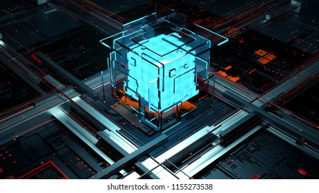 3d render abstract background. Digital computation processor concept. Artificial calculation center.