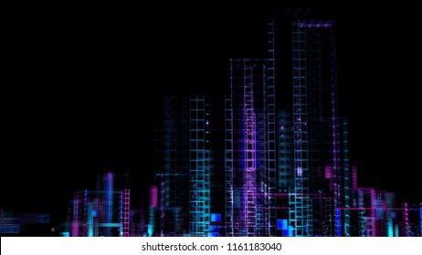 3d render abstract background. Digital city concept. Abstract complex structure of pseudo city.