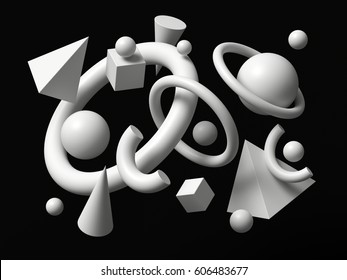 3d render, abstract background, falling geometric primitive shapes, white elements isolated on black background