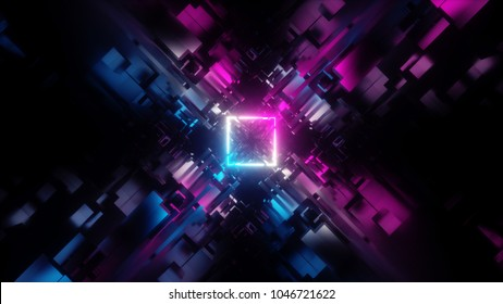 3d render, abstract background, geometric structure, pink blue neon wallpaper, light square, big data, fragments, quantum computer, storage, cyber safety, virtual reality