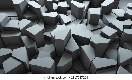 3d render abstract background. Geometry shapes that goes up and down. Random forms.