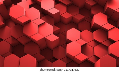 3d render abstract background. Geometry shapes that goes up and down. Rhombus and hexagon forms.