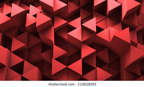 3d render abstract background. Geometry shapes that goes up and down. Triangle cross-section form.