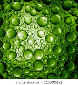 3d render abstract background with glass bubbles. Clear beautiful Water drops refractive background.