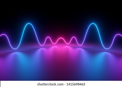 3d render, abstract background, glowing dynamic wavy lines on the floor, pink blue neon light, ultraviolet spectrum