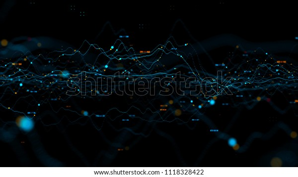 3d render abstract background with graph made of dot particles. Finance graph with details. Complex repeatable graphs.