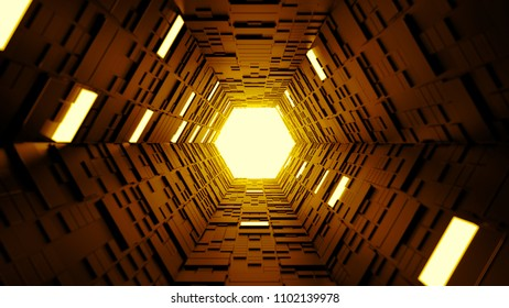 3d render abstract background. Long corridor. Simple shape extruded with random square polygons at the walls. Several wall segments are lighted up.