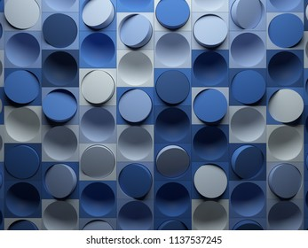 3d render abstract background made of repeatable semispheres in box geometric shapes with cutout. Pattern ornament.