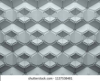 3d render abstract background made of repeatable hexagonal geometric shapes. Pattern ornament.
