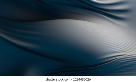 3d render abstract background made of deformed cloth surface. Surface with micro reflective texture.