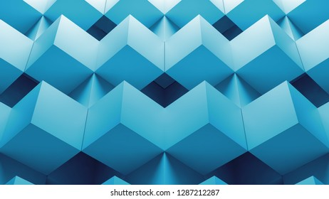 3d render abstract background made of repetitive cube pattern.