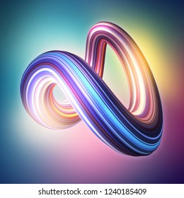 3d render, abstract background, modern curved shape, deformation, loop, colorful lines, glowing neon light, ultraviolet spectrum, candy colors, glitch effect, isolated distorted object