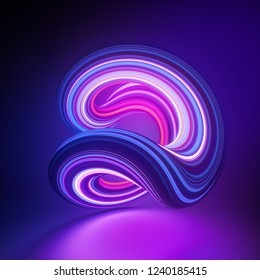3d render, abstract background, modern loop shape, deformation, violet pink glowing neon light, colorful lines, ultraviolet, bright candy colors, glitch effect, isolated distorted object